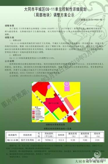 大同市新建平城区人民医院地块方案调整公示